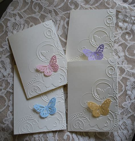 handmade greeting cards set of 4 embossed butterfly cards