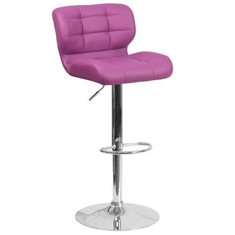 Purple Bar Stool by Flash Furniture Adjustable Height Purple Cushioned Bar