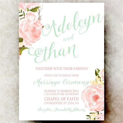 printable wedding invitations floral floral watercolor wedding invitation mint pink coral