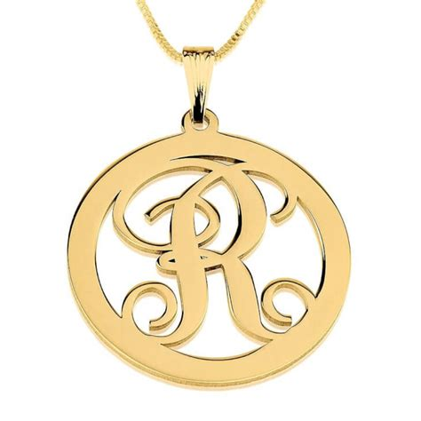 24k gold plated circle initial necklace buy now