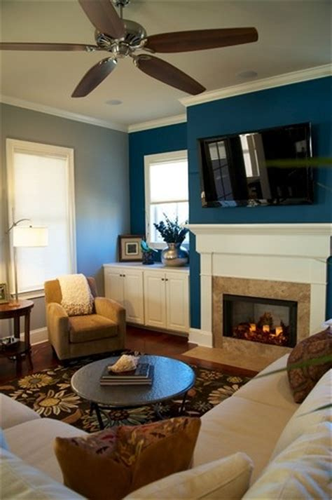 living room blue accent wall casa pinterest