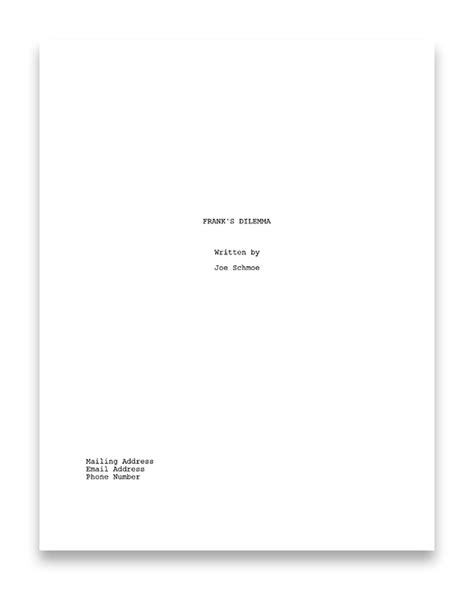 script title page template nyc midnight how to write a screenplay the basics