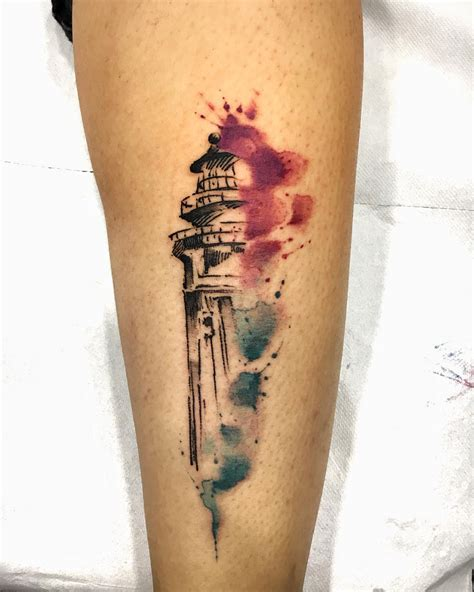simple lighthouse tattoo sketch style watercolor lighthouse tattoos