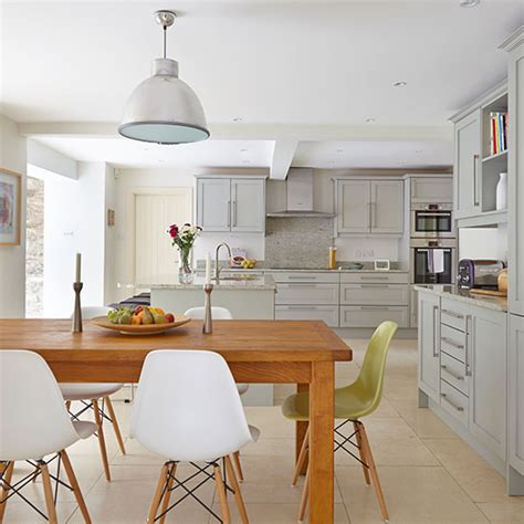 open plan kitchen diner ideas open plan grey kitchen diner decorating ideal home