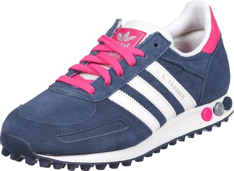 adidas la trainer leather w shoes blue pink