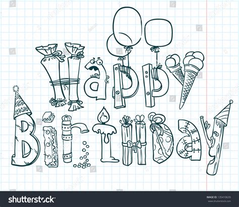 free vector birthday doodle happy birthday doodle card stock vector 135410639