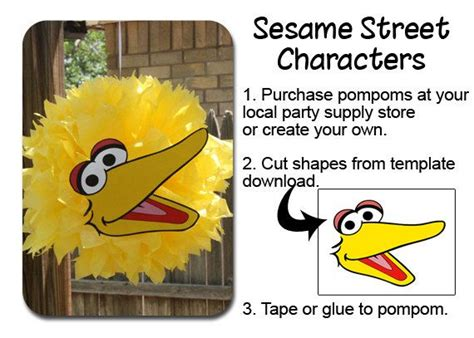 big bird template big bird pompom template by ourcreativemess on etsy