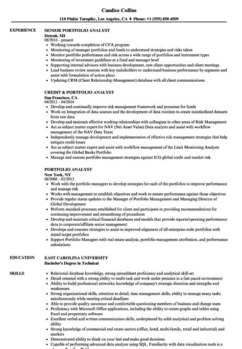 Resume And Portfolio by Portfolio Analyst Resume Sles Velvet