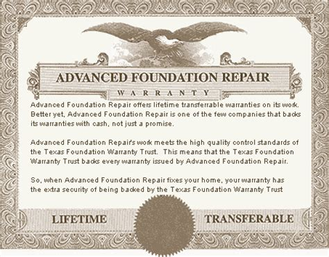 foundation template foundation repair warranty lifetime and transferrable
