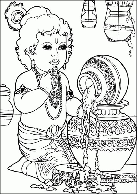 Lord Krishna Outline Drawing