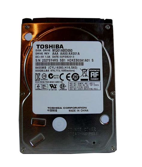 Brand Toshiba Capacity 500gb Form Factor 25 Inch Interface 36 on toshiba mq01abd050 2 5 inch mobile