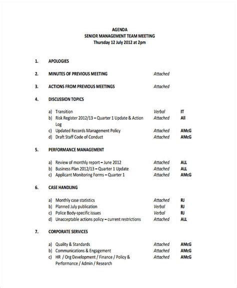 management meeting agenda 21 management agenda exles sles