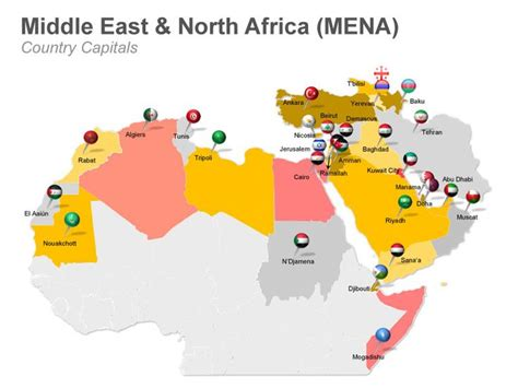 middle east map editable editable powerpoint map mena middle east and