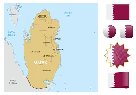 qatar map vector qatar map and flags free vector stock
