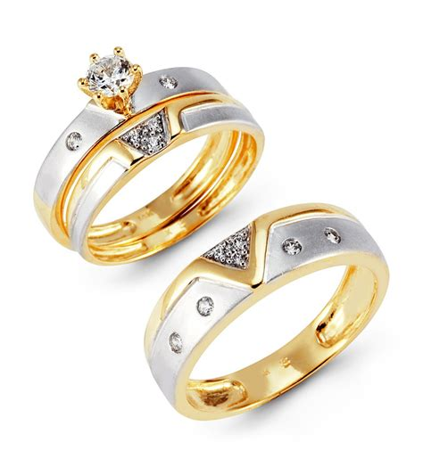 two tone 14k gold cz cluster solitaire wedding ring set