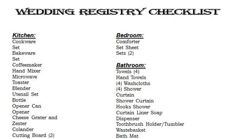 Wedding Registry by Wedding Checklist Pdf Seotoolnet