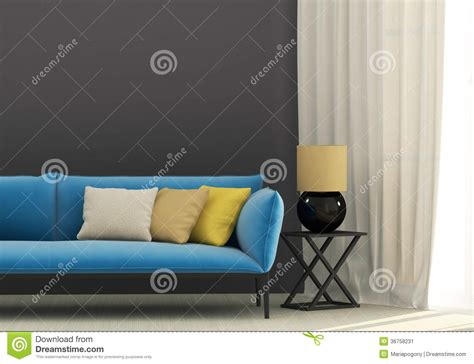 blue and yellow sofa gray interior with blue sofa stock image image 36758231