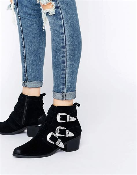 buckle ankle boots shoptagr asos rocker and roller western buckle ankle