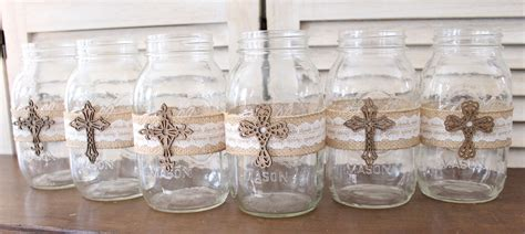 Communion Decorations by Baptism Centerpiece Jar Wraps Rustic Baptism