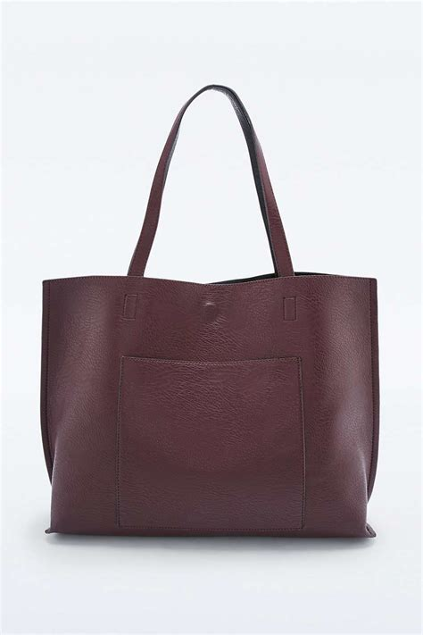 Maroon Totebag by Lyst Outfitters Reversible Vegan Leather Burgundy