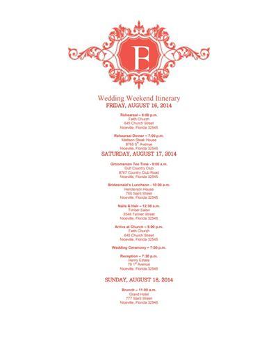 Wedding Itinerary by Wedding Itinerary Template Free Edit Create