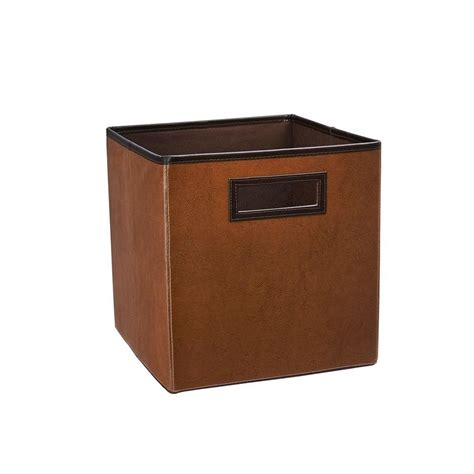 Faux Leather Storage Drawers by Closetmaid 10 5 In X 11 In X 10 5 In Cinnamon Brown