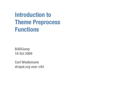 theme drupal function introduction to theme preprocess functions