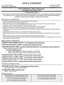 Emt Resume by Paramedic Resume Sle Free Resume Template Professional Paramedic Resume Format