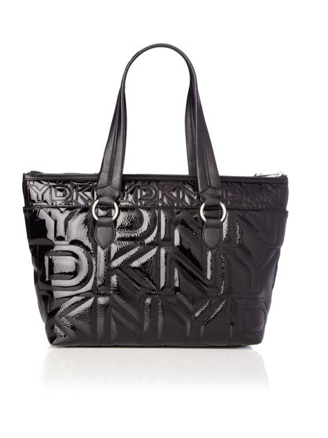 Dkny Black Quilted Handbag by Dkny Quilted Logo Tote Bag In Black Lyst