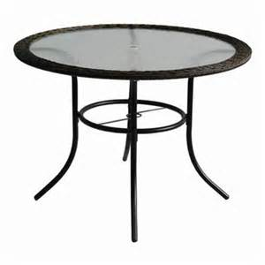 Glass Patio Table Top Garden Treasures Severson Wicker Glass Top Patio Dining Table Lowe S Canada