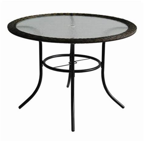 Patio Table Glass Top Garden Treasures Severson Wicker Glass Top Patio Dining Table Lowe S Canada