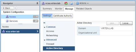 join  vcsa    active directory domain