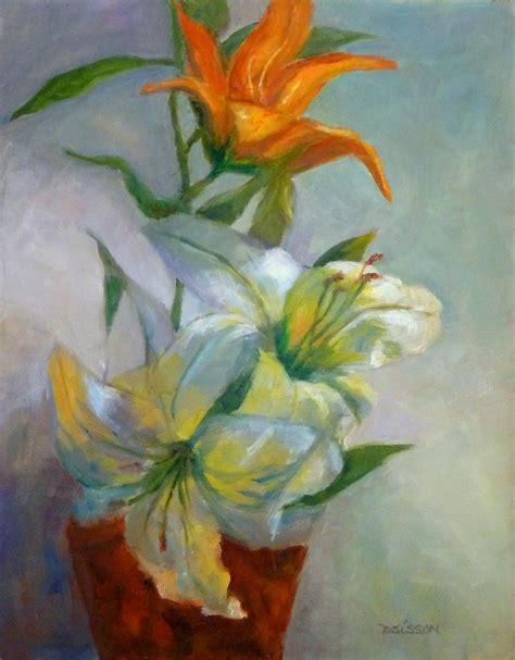 Paintings Of Flowers In Vases by Daily Painters Of Arkansas Dramatic Lilies Debra Sisson Painting Still Flowers Vase