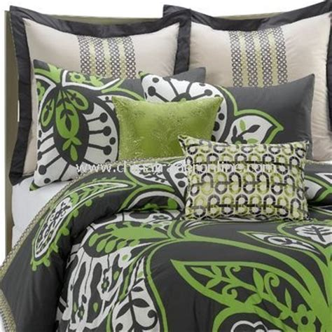 Green And Gray Bedding by