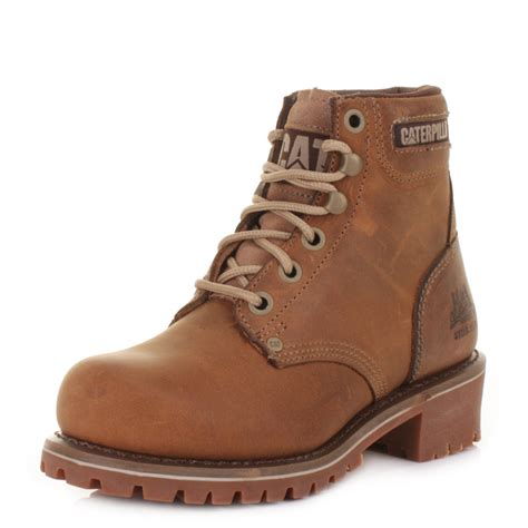 womens caterpillar logger 6 quot steel toe beige lace up