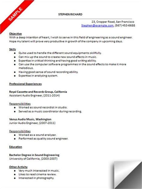 Audio Engineer Resume by Audio Engineer Resume Sle Resume Exles