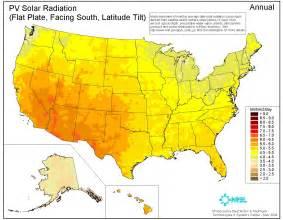united states map showing deserts solar insolation maps