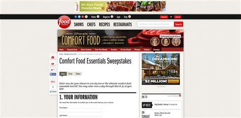 Food Sweepstakes - comfort food essentials sweepstakes