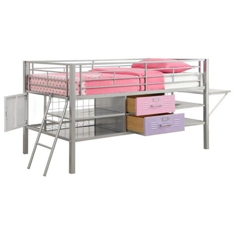 locker bed junior metal twin loft locker storage bed in purple and