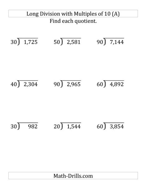 printable hard long division worksheets long division by multiples of 10 with remainders large