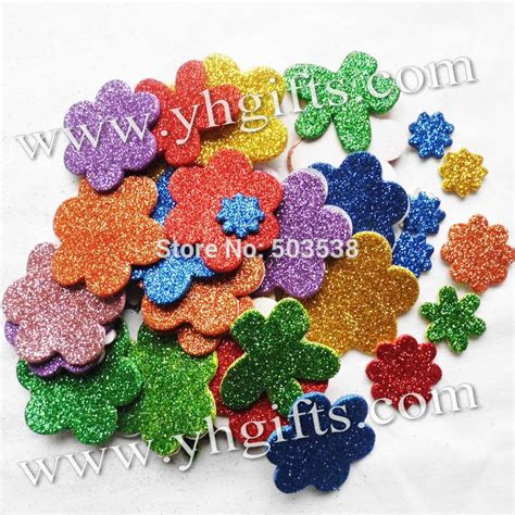 Mexican Home Decor Stores 45pcs 1bag lot glitter foam flower stickers spring crafts