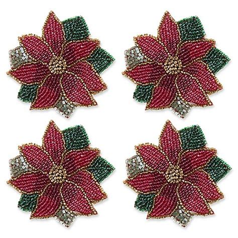 beaded poinsettia coasters set of 4 bed bath beyond