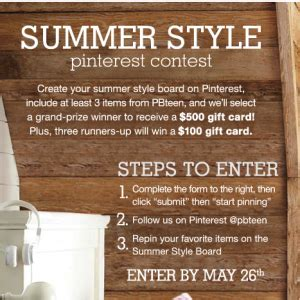 Pottery Barn Teen Gift Card - pottery barn teen summer style pinterest contest win a 500 pbteen gift card