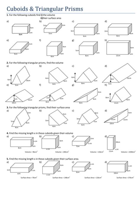 Surface Area Of Triangular Prism Worksheet by Maths Cuboids And Triangular Prisms By Tristanjones