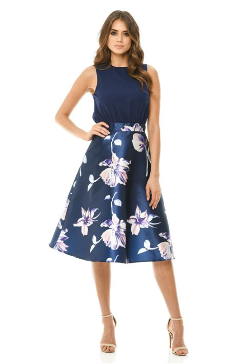 Parisian 2in1 Ax Womens 2 In 1 Navy Blue Midi Skater Dress Floral