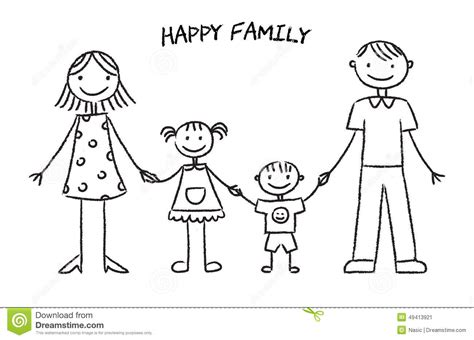 sketch book kid happy family sketch stock vector image 49413921