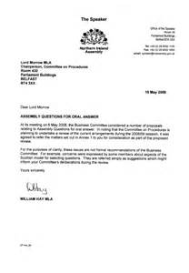 Adjournment Request Letter Exle Welcome To The Northern Ireland Assembly