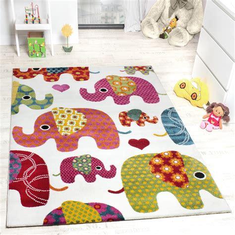 teppiche kinder moderner kinderzimmer teppich bunte elefanten multicolour