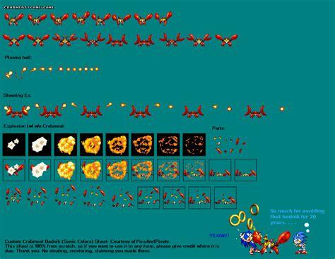 crab colors sonic colors crabmeat sprites by picsandpixels on deviantart