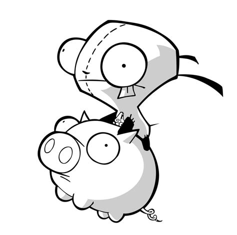 Invader Zim Piggy Coloring Page Coloring Pages Gir Coloring Pages